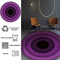 オフィスおよびホームデスクチェア用カーペットラウンドノンスリップ、勾配同心円床プロテクター用オフィスチェアマット、ホームオフィススタディ用チェアカーペット,Purple