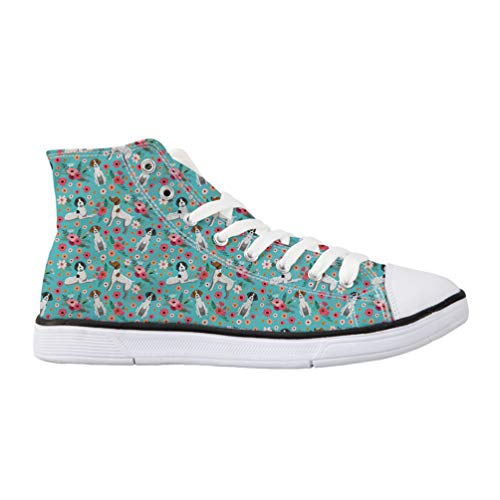 Nopersonality Classic Women Canvas Shoes High Top Flats Lace Up Casual Trainers Summer Sneaker Pumps Floral German Short Haired Pointer