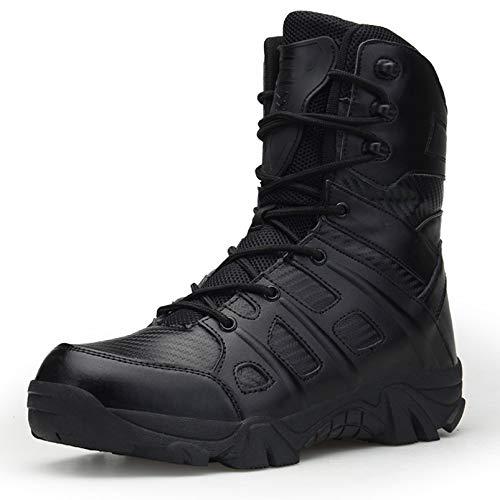 SMGPY Ejército Comando Masculino Combate Desierto Invierno Al Aire Libre Senderismo Botas Aterrizaje Zapatos Militares Tácticos,Negro,43