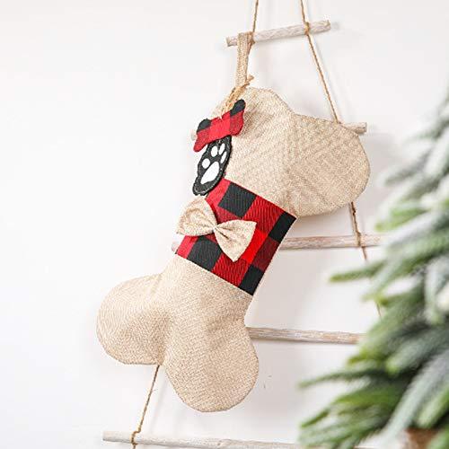 Monnadu Medias De Navidad Buffalo Plaid Forma De Hueso De Navidad Prensent Bolsa De Regalo Colgante Decoración De Fiesta De Vacaciones Adorno para Decoraciones De Vacaciones Familiares B