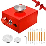 Mini Pottery Wheel with 2 Turntables and 8 DIY Clay Tools, Electric Mini Pottery Machine for Kids, Pottery Wheel Clay Tool with Tray for Beginner (Red)
