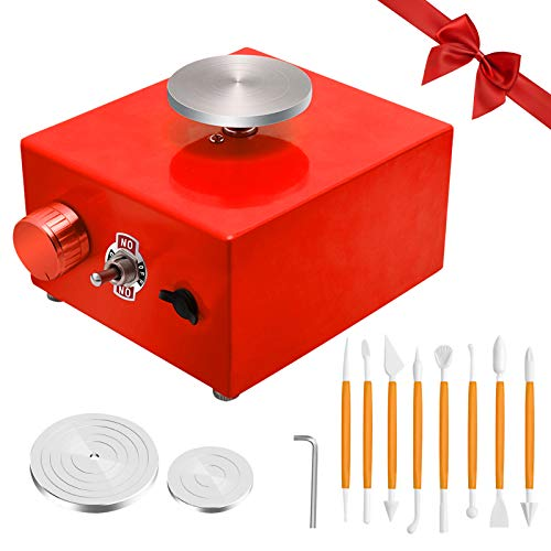 Pottery Wheel, Mini Pottery Wheel with 2 Turntables and 8 DIY Clay Tools, Electric Mini Pottery Machine, Pottery Wheel Clay Tool with Tray for Kids/Ceramic Work/Ceramics Clay Art Craft/Beginner(Red)
