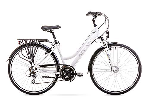 Romet GAZELA 2 Trekking Bike 26 Zoll Trekking Fahrrad Crossbike Cross Fahrrad Fahrrad Shimano 21 Gang 19 Zoll Aluminium Rahmen weiß