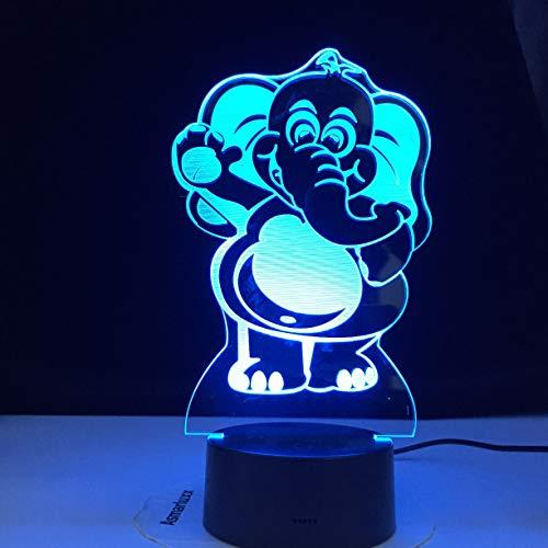 Zhuhuimin Elefant 3D Nachtlicht LED 7 Farbe USB Illusion Gradient Geburtstagsgeschenk Spielzeug Tischlampe Kinder bestes Dekorationsmaterial