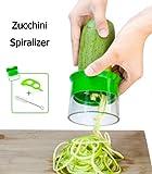 Cortador en Espiral Rallador de Verduras, Chinansia Zucchini Spiralizer -Con Cepillo de Limpieza y Pelador de Naranja(Verde)