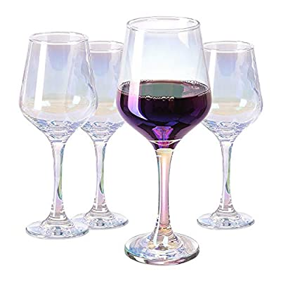 Vastto 18.5 Ounce Iridescent Crystal Wine Glass,for Home Dinning, Bar, and Party,Set of 4