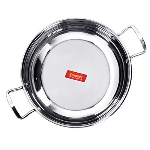 Sumeet Stainless Steel Induction Bottom (Encapsulated Bottom) Induction & Gas Stove Friendly Kadhai Size No.13 (2.3 LTR)