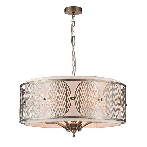 Lámpara colgante, estillo rustica, lampara de techo, de metal color oro, pantalla...