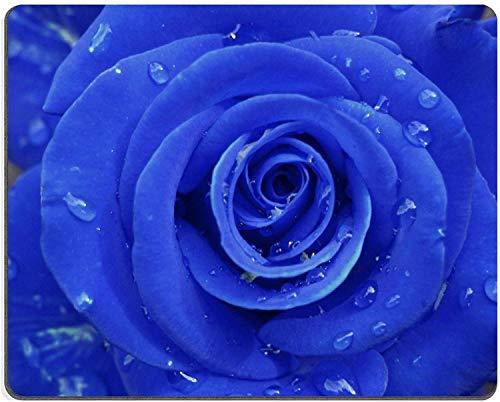 Enkele blauwe roos met water druppel water druppel dauw verse muis pads op maat gemaakt om te bestellen ondersteuning klaar eco-vriendelijk doek Wit Rubber muismat Desktop muismat laptop muismat comfortabele computer muis mat schattig gaming muismat, Size: 7.1x8.7 inches/22x18cm, Veelkleurig
