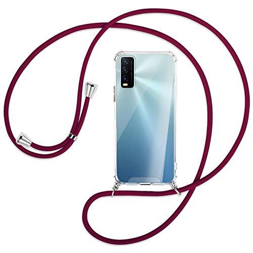 mtb more energy Collar Smartphone para Vivo Y20s, Vivo Y11s (6.51'') - Rojo Oscuro - Funda Protectora ponible - Carcasa Anti Shock con Cuerda Correa