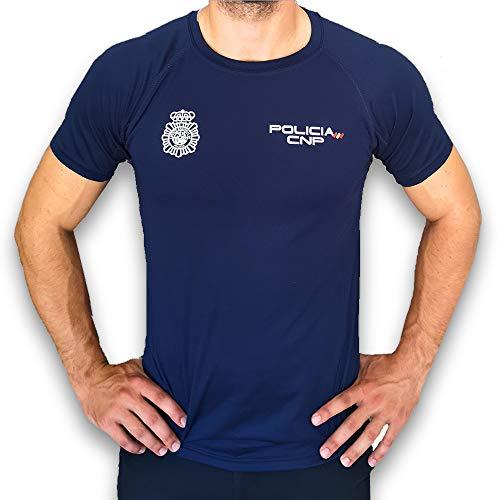 CNP Camiseta policia Nacional Tejido Tecnico para Entrenamiento oposiciones, Color Azul Marino con Bandera de españa, Disponible en Varias Tallas