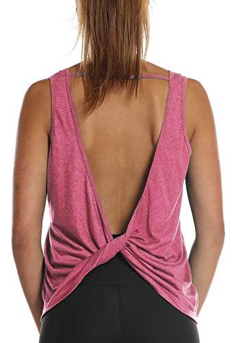 icyzone Débardeur de Sport Femme - sans Manches T-Shirt Dos Ouvert Tops Exercice Yoga Running décontracté (M, Rose)