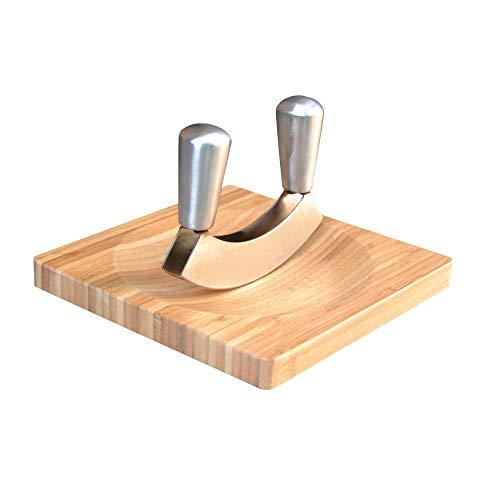 Point-Virgule Wiegemesser mit Brett aus Bambus, zweischneidig kräutermesser, krauter zerkleinerer, 20x20x2cm