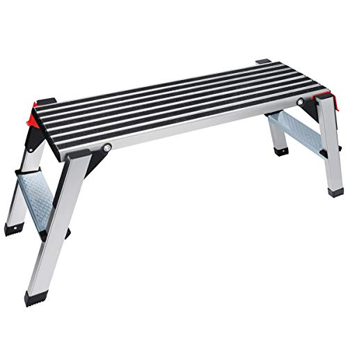 Gimify Work Platform Aluminum Folding Step Ladder Drywall Stool Portable Bench Non-Slip, 330lbs Capacity