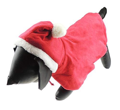 Glamour Girlz Hond Kat Feestelijke Kerstmis Warm Winter Meisje Jongen Jumper Jas Outfit Kostuum Cape Pom Pom Rood, Small, Rood