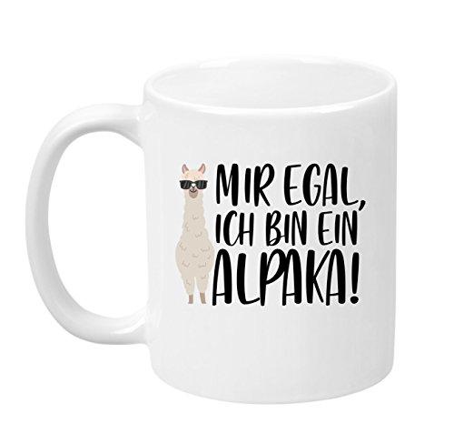 TassenTicker - ''Mir egal, ich Bin EIN Alpaka!'' - hochwertige Qualität - Kaffeetasse - Geschenke - Tasse mit Spruch - Alpaka - (Weiss)