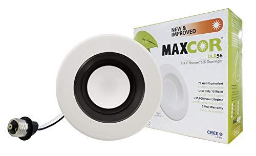 NICOR Lighting 5/6-Inch 3000K LED Downlight Retrofit Kit for Recessed Housings, Black Trim (DLR56-25-120-3K-BK)