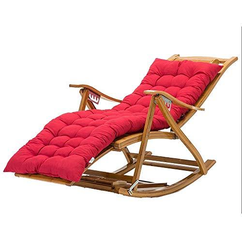 Bseack Fauteuil à Bascule, Chaise à Dossier Pliable en Bois Massif à 170 ° réglable en Angle avec Repose-Pieds, Balcon, Chaise Longue (Couleur : Rouge)
