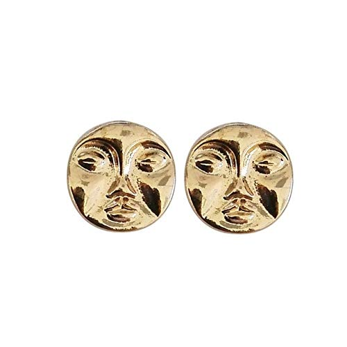 Kswlkj Einfache Metall abstrakte Torte Gesicht Ohrringe New Fashion Lady Gold Ohrringe Retro skurrilen Ausdruck Ohrstecker Fashion Woman Ohrringe Gold