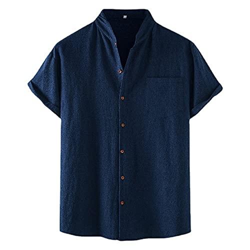 Shirt Hombres Casual Transpirable Luz Fresca Camisas Ocio Hombres Verano Color Sólido Camisa Clásica Sin Cuello Hombres Camisa Holgada Y Cómoda Hombres D-Navy L