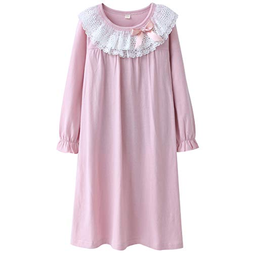 Image of Lovely Pink Cotton Lace Nightgowns for Girls and Toddler Girls - See More Colors