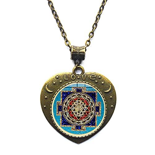 Collar de mandala budista, joyería de geometría sagrada, collar tibetano, regalo espiritual, collar de hombre, colgante de mandala para hombre-JV145