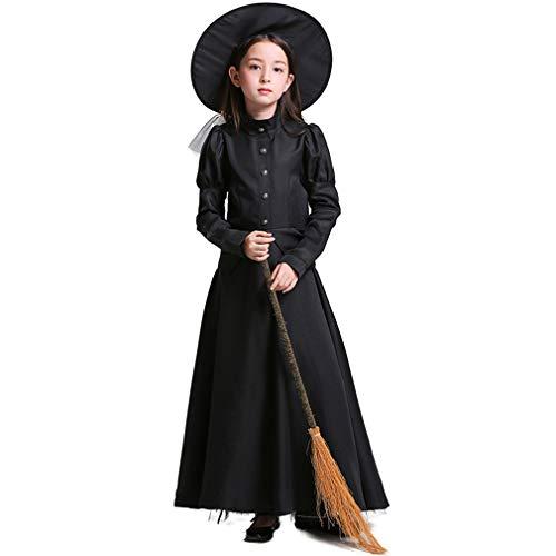 TIESALUONI Vrouwen en Meisjes Jurk, Cosplay Kostuum, Gekleurde Heks Kostuum Spookachtige Heks Fancy Jurk Zwart Lange Mouwen Halloween Cosplay Outfit met Hoed
