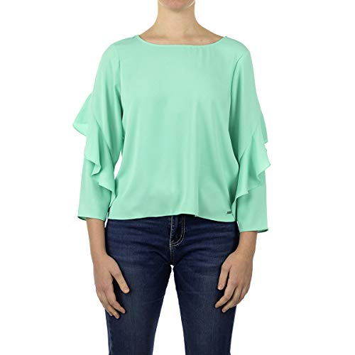 Armani Exchange Long Blouse with Ruffle Sleeves Blusas, Ópalo, S para Mujer