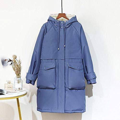 DPKDBN Parker, Manteau Long Manteau Veste d'hiver Femme 90% Duvet de Canard Blanc épais Parkas Chaud Sash Tie Up Snow Outwear, Bleu, M
