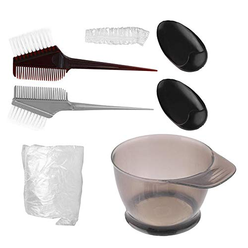 7Pcs Hair Dye Set - Hair Dye Mix Bowl Earmuffs Brosse Peigne Agitation Kit, Coiffure Ménages Hair Dye Tool Set