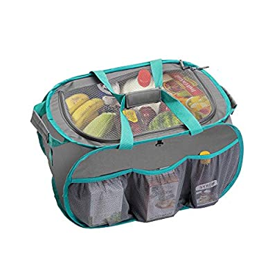 Smart Design Pop Up Trunk Organizer w/Easy Carry Handles, Side Pockets, Zipper Top - 23 Inch - Durable Fabric Collapsible Design - Home Organization (Holds 50 lbs.) [Gray w/Teal Trim]