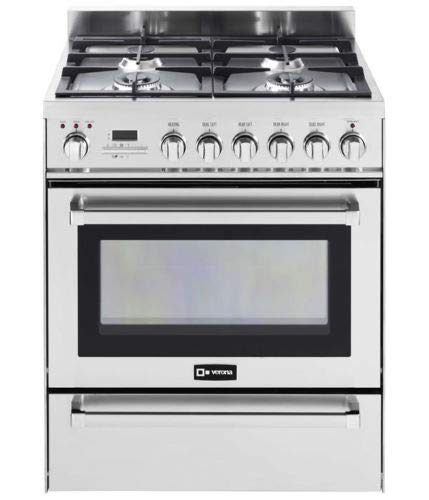 "Verona VEFSGE304PSS 30"" Pro Dual Fuel Range Oven 4 Burner Convection Warming Drawer Stainless Steel"