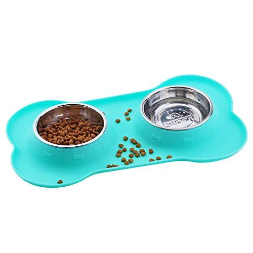 SuperDesign 犬猫向けのステンレススチールボウル、ダブルボウルが骨形状のシリカゲル製の台に置かれる。小型、ライトピンク色