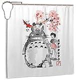 qinhanxinchengxianlibaihuodian Wasserdichter Duschvorhang Totoro Christmas Tree Studio Ghibli Dekorativer Badvorhang mit Haken