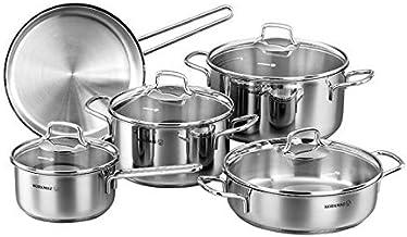Korkmaz C-MX-A1609 Stainless Steel Perla Cookware 9 Piece Set, Silver