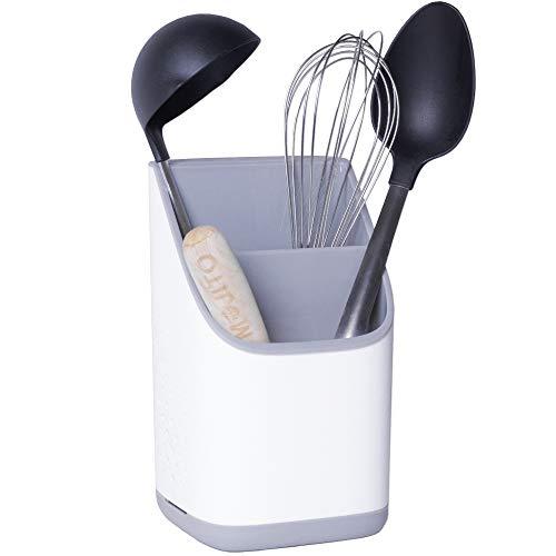 cookenia - Kitchen Storage & Organisation - Halter für Küchenutensilien - das Zubehör für Jede Küche als Ordnungshelfer für Spüle oder Küchenschrank, Besteck- oder Schwammhalter - weiß/grau