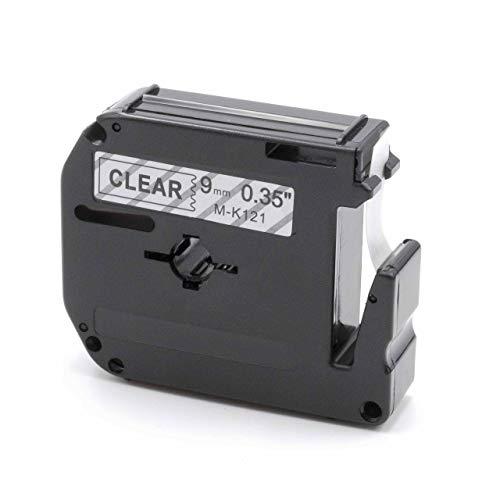 vhbw Schriftband Kassette 9mm schwarz auf transparent passend für Etiketten-Drucker Brother P-Touch 100, 110, 45M, 55, 55BM, 55S, 60, 65, 65SB, 65SCCP