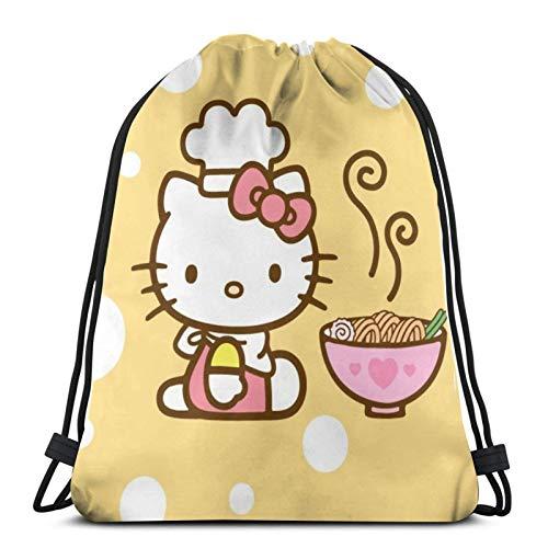 SHINIUCUN Hello Kitty Kordelzug-Tasche, Turnbeutel, Rucksack, Rucksack, Strandsack, für Fitnessstudio, Outdoor, Reisen