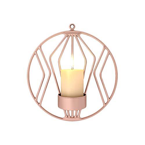 2 Stück Wand Kerzenhalter für Wohnzimmer Wandleuchten für Stumpenkerzen Teelicht Metall Kandelaber für Wohnzimmer Schlafzimmer Hochzeit Schlafzimmer Dekor (Rosa Rot)