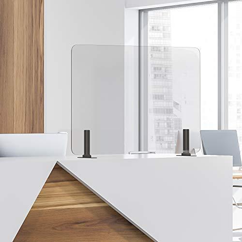 GUARDMATE | Premium Plexiglass Shield Commercial Grade Sneeze Guard | Acrylic Divider Portable Plastic Barrier Shield Reception Desk Cashier Checkout Counter (48' Wide x 24' Tall)