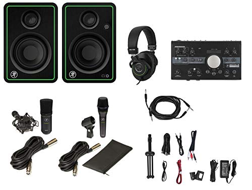 Great Features Of Mackie Studio Bundle w/(2) Monitors+Interface+Dynamic+Condenser Mic+Headphones.