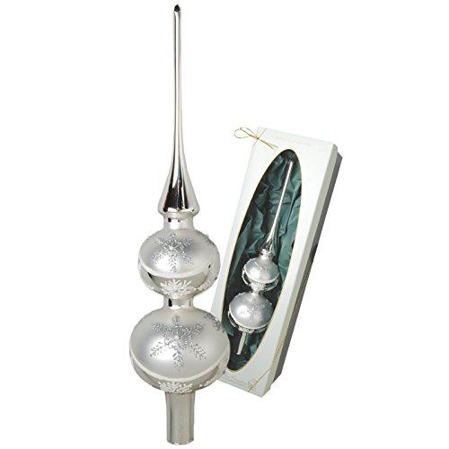 Christbaumspitze Satin Silber glänzend mit Dekor, 30 cm in hochwertiger Geschenkbox