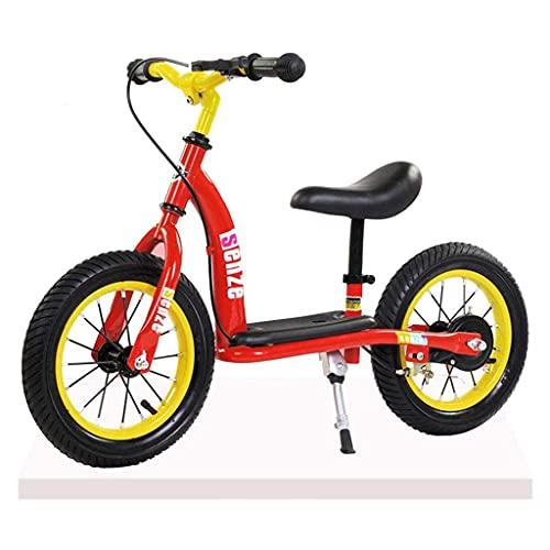 Bicicleta Sin Pedales Bicicletas de balance de niños de 12 pulgadas, neumáticos llenos de aire ligero ajustable con frenos Pedal Sillín ajustable, bicicleta de scooter para niños a partir de la edad d