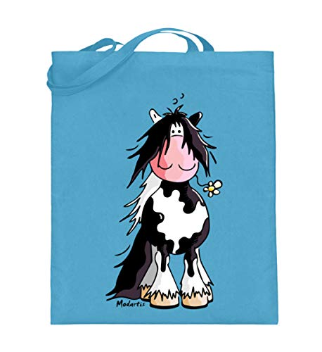 Witziges Schecke Pferd Comic - Pinto - Geschenk - Jutebeutel (mit langen Henkeln) -38cm-42cm-Hellblau