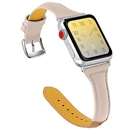 VeveXiao Bandas de cuero compatibles con Apple Watch de 38 mm, 40 mm, 42 mm, 44 mm, banda de cuero de grano superior delgada y delgada para iWatch Series 6 5 4 3 2 1 SE, 38/40mm,