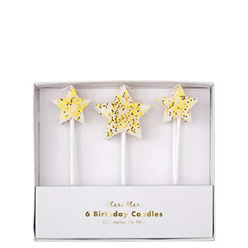 Meri Meri Gold Glitzer Stern Kerzen – Packung mit 6 Stück – verschiedene Größen Sternkerzen