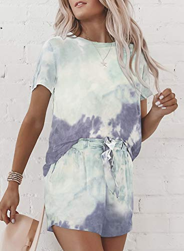 Asvivid Women Tie Dye Tracksuit Fashion Casual Short Sleeve Sport 2 Piece Sky Blue