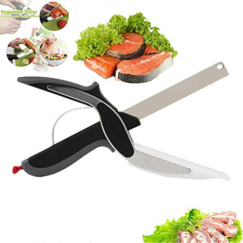 Food Cutter Scissors, PinLife Kitchen Food Scissors Slicer Smart Cutter Stainless Steel Knife with Built-in Cutting Board for Vegetables Fruits Chopper, Food Scissors, Vegetable Slicer
