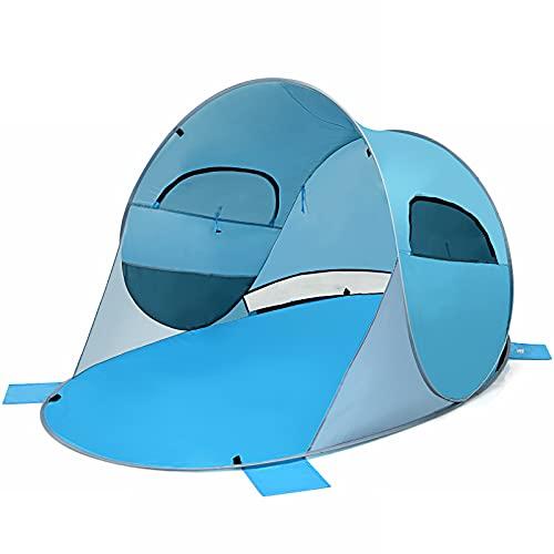 COSTWAY Pop Up Strandmuschel 3-4 Personen Strandzelt Sonnenschutz Wurfzelt mit Tragetasche & 2 Netz-Fenstern & 4 Sandtaschen automatisch für Strand, Garten, Camping (Blau)