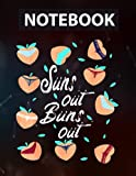 Summer Bikini Sun's Out Buns Out Cute Retro Hearts Peaches Notebook CollegeRuled / 130 Pages / Large 8.5''x11''